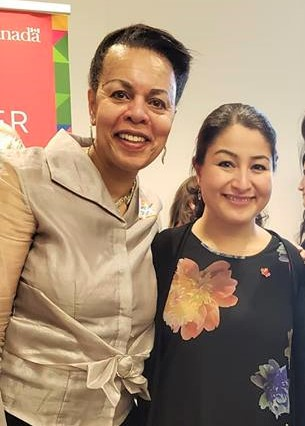 The VP Norma Domey with the Honorable Maryam Monsef, Minister of International Development and Minister of Women and Gender Equality.