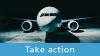 grounded airplane. Take action