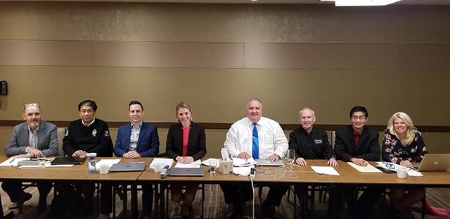 L-R Gerry Morrissey (CO), Raymond Poon (AU), Nicolas Daignault (PIPSC Negotiations and Research), Cara Ryan (PIPSC Negotiator), Peter Gabriel (PG - Group President and Bargaining Chair), Gord Sanford (PG), Jason Huang (CO), Andree Doucet (CO)